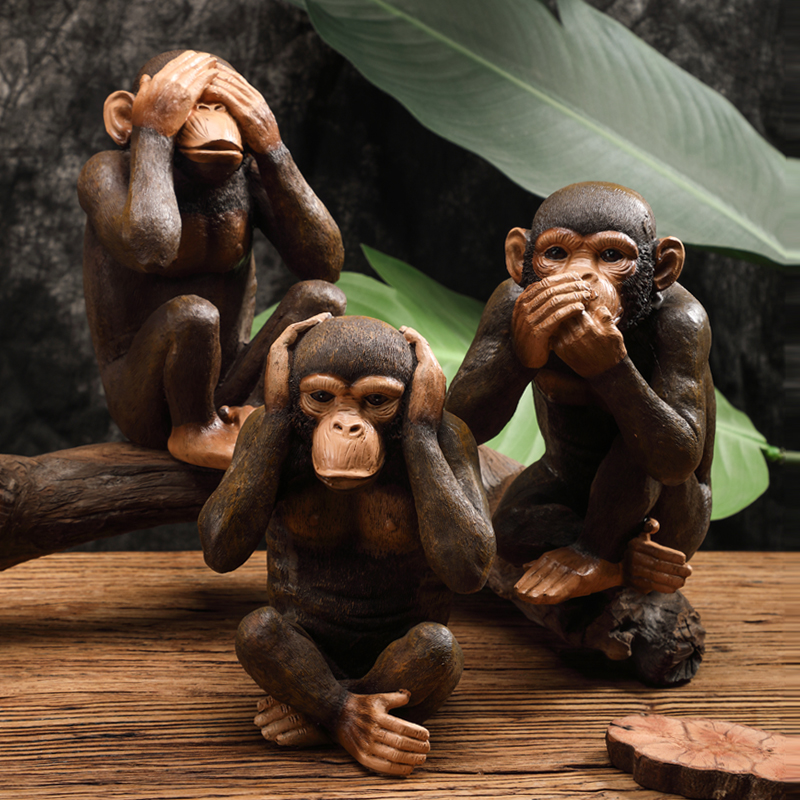 Funny Resin Ape Sculpture Abstract Animal Statue Home Decoration Accessories Craft Monkey Figurine Kids Room Decor