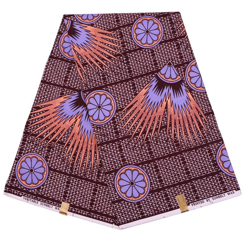 Latest Arrivals Fashion Design African Guaranteed Real Dutch Wax Purple Flower Printed Fabric Wax Printed Fabric