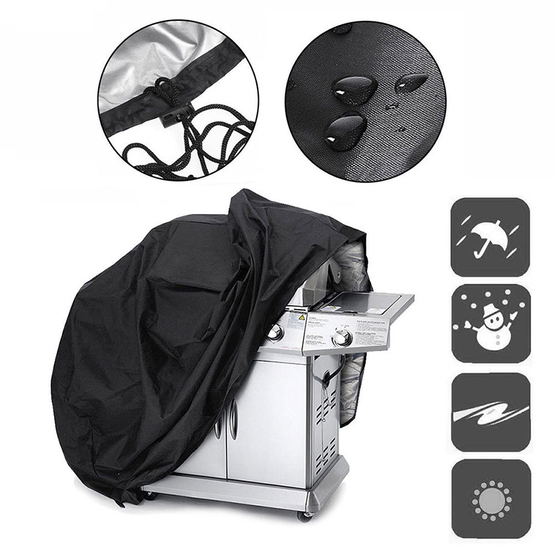Outdoor Black Waterproof BBQ Cover Weber Heavy Duty Grill Cover Protective Round Rectangle Barbecue Barbeque Grill BBQ Accessory