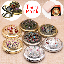 Multi-color Flower Metal Portable Pocket Mini Two-sides Folding Makeup Mirror Vintage Cosmetic Mirrors Wedding party favor gift