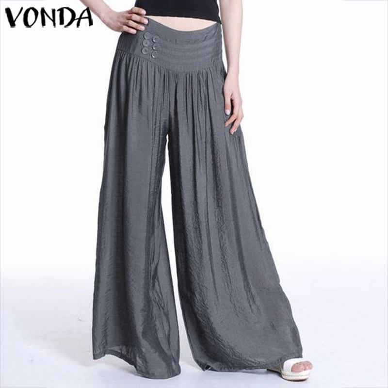 VONDA Autumn Women   Wide     Leg     Pants   Female Casual Loose Elastic Waist Trousers Elegant Solid Bottoms Plus Size Overalls 5XL