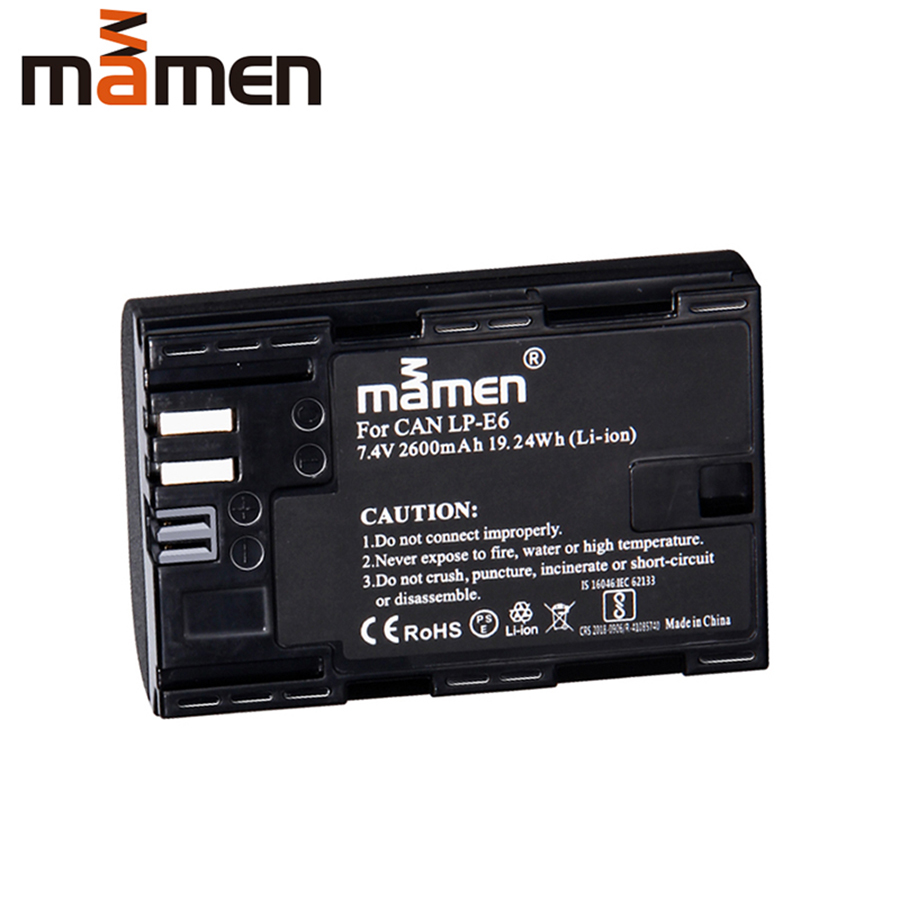 Mamen 2600mAh LP E6 LP-E6 LPE6 Digital Camera Battery For Canon EOS 5D Mark 2 3 6D 7D 60D Replacement Lithium Pack