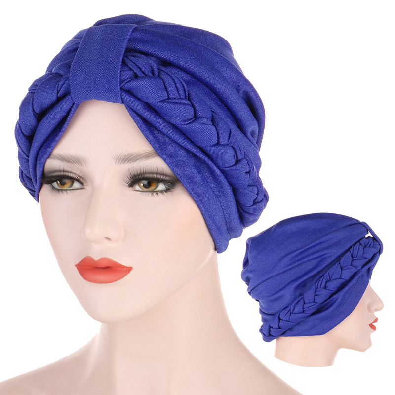 Braid Turban Caps Solid Cotton Inner Hijabs Muslim Headdress For Ladies Arab Wrap Head Hijab Underscarf Cap Turbante Bonnet