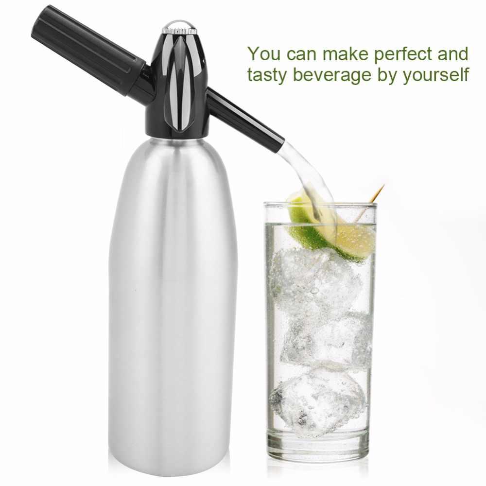 1000ml, sifón de agua de Soda, máquina de zumo de bebida Para el hogar, barra de cerveza, sifón, botella de acero, cilindros de espuma para Soda corriente, inyector de Co2