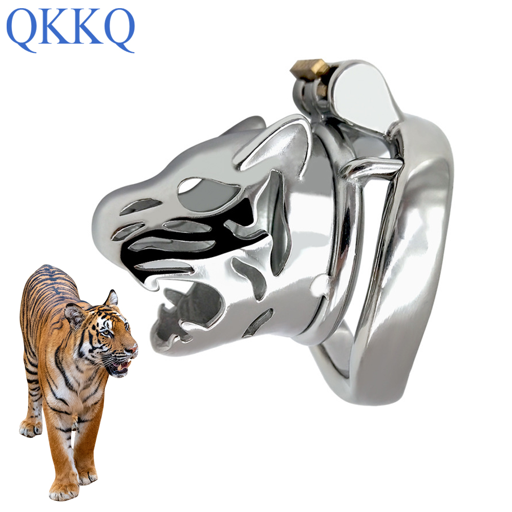 QKKQ Tiger Head Chastity Locks Male Cock Cages Chastity Device Catheter Penis Lock Metal Cock Men Penile Virgin Lock