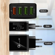 Sale Practical 4-USB Ports Hub Wall Charger Power Adapter With US/EU/UK Plug Portable QC 3.0 Fast Quick Charge Power Adapter