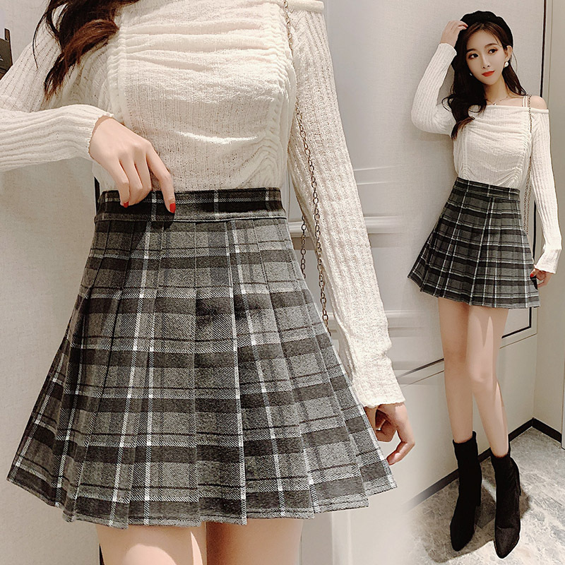 2019 Autumn And Winter New Style South Korea College Style High-waisted Plaid Woolen Skirt A- Line Short Skirt