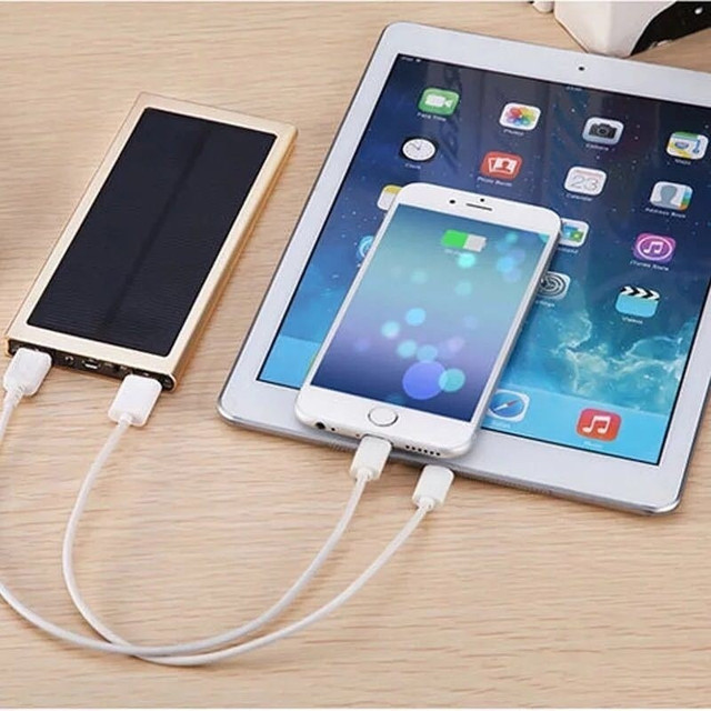 30000mAh Solar Power Bank Large Capacity Ultra Thin 9mm with LED Light External Solar Charger travel Powerbank for All Phone 2