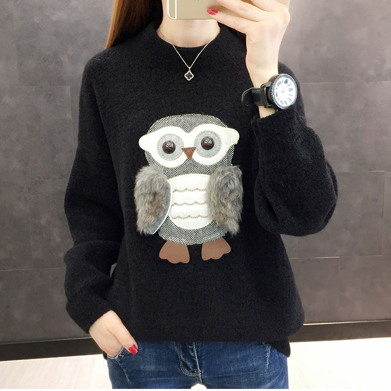2019 Warm Fall Female O-Neck Pullover Sweater Owl Decoration Autumn Knitted Long Sleeve Pull Jumper Casual Pullovers Sweaters