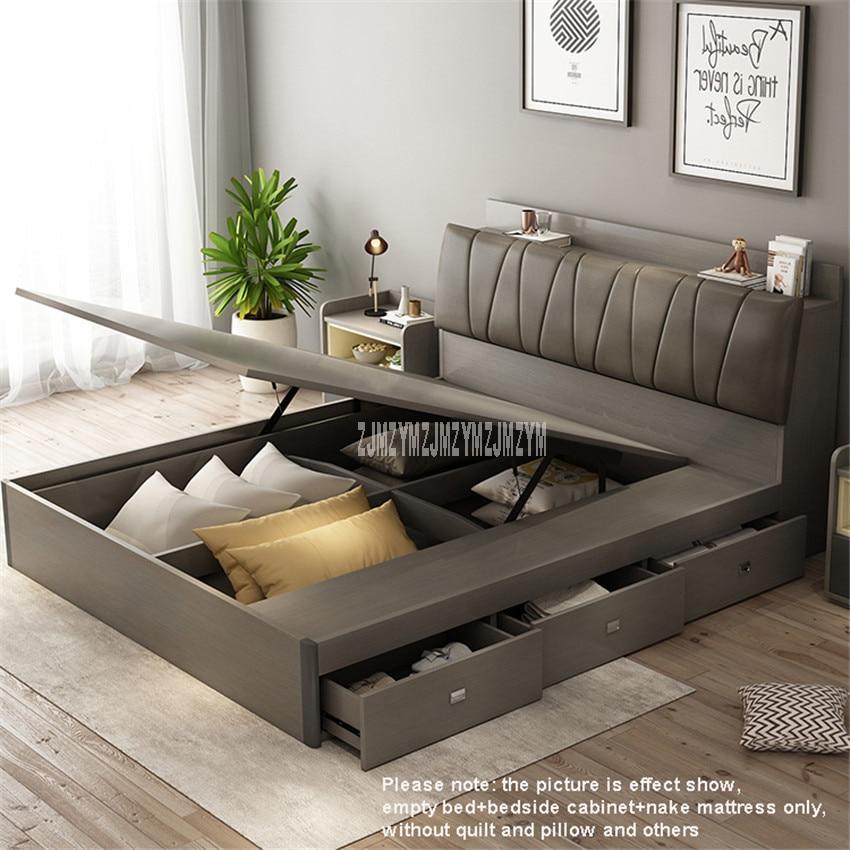 1.8m Nordic Modern Simple Wood Bed Bedroom Furniture With 3 Storage Drawer + High Density Sponge Mattress + Two Bedside Cabinet