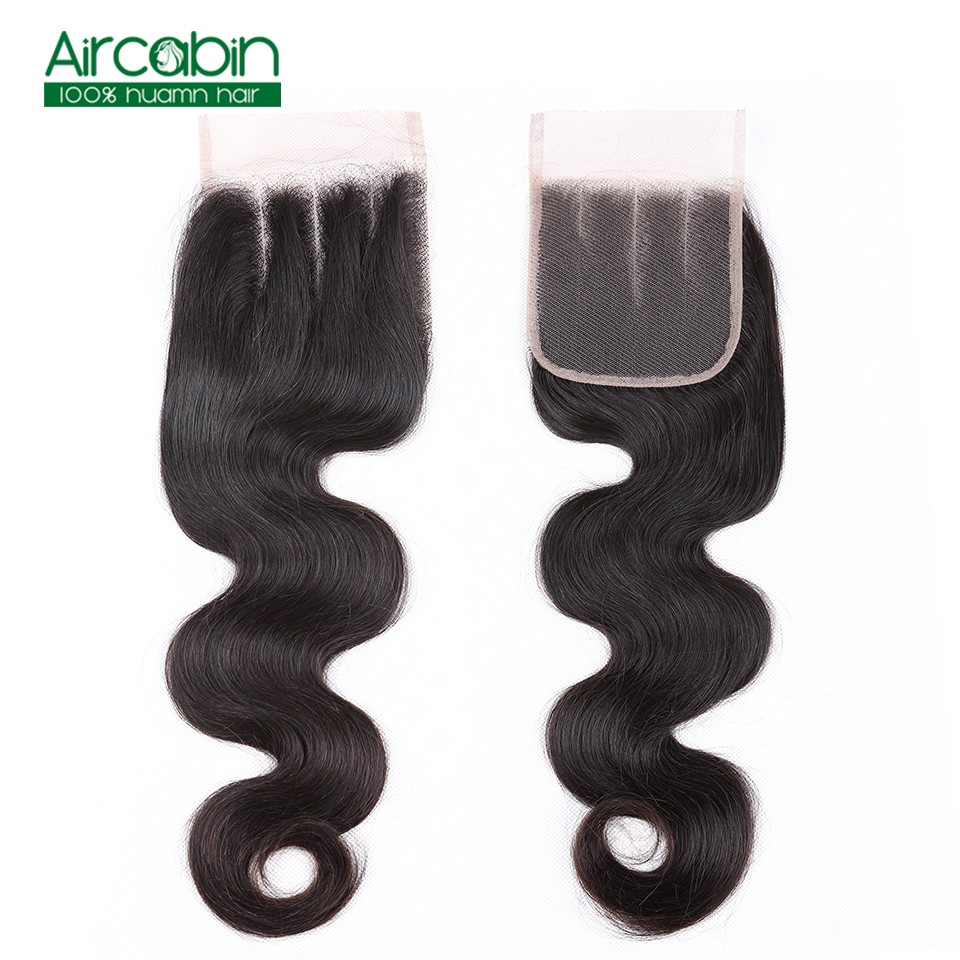 Aircabin Hair Closure Brazilian Body Weave 100% Human Hair Lace Closure 4X4 Free Middle Three Part  Remy Hair 8-20 Inch
