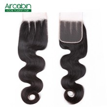 Aircabin Hair Closure Brazilian Body Weave 100% Human Lace 4X4 Free Middle Three Part  Remy 8-20 Inch