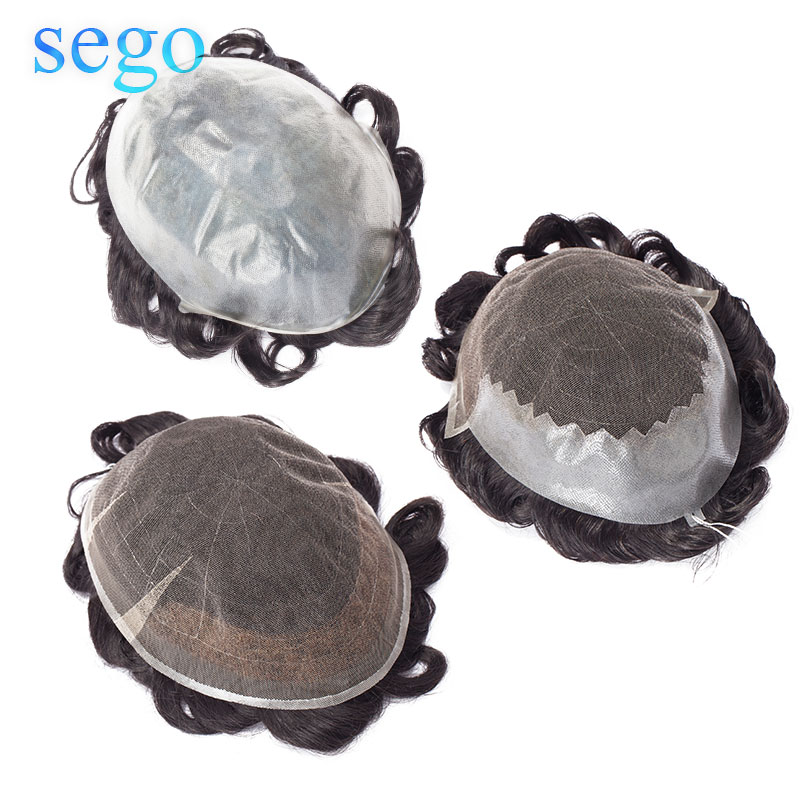 SEGO 8''*10'' PU&Swiss Lace Skin Men Toupee Real Human Hair Non-Remy Men Hairpieces Wig Replacements Indian Hair Density 95%