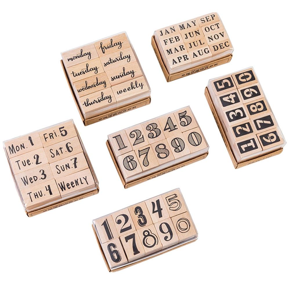 Vintage Basic Alphabet Number Character Stamp DIY Wooden Rubber Stamps For Scrapbooking Stationery Scrapbooking Standard Stamp