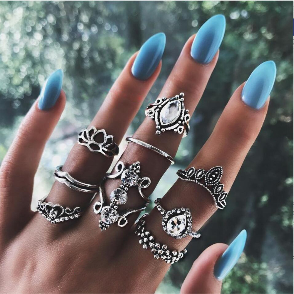 20 видов стилей Для женщин в богемном стиле винтажная корона цветок из складок сердце лотоса Star кристалл в форме листика опал кольцо с камнем вечерние украшения Серебряные кольца комплект - Цвет основного камня: 1022