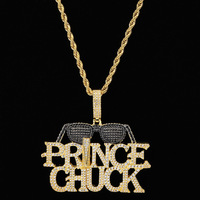Hip Hop Micro Paved AAA Cubic Zirconia Bling Ice Out Cool Sunglasses Prince Chuck Pendants Necklace for Men Rapper Jewelry