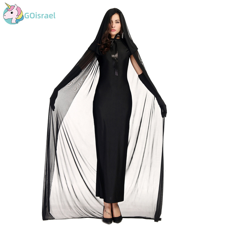 Black ghost female night costume Halloween queen witch girl adult stage party holiday