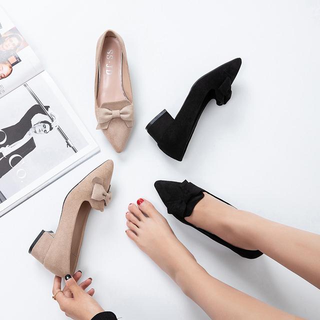 Plus Size Ol Office Ladies Shoes Bowtie Slip on Shoes Pinted Toe Women Pumps Low Heels Dress Shoes Black  C9061
