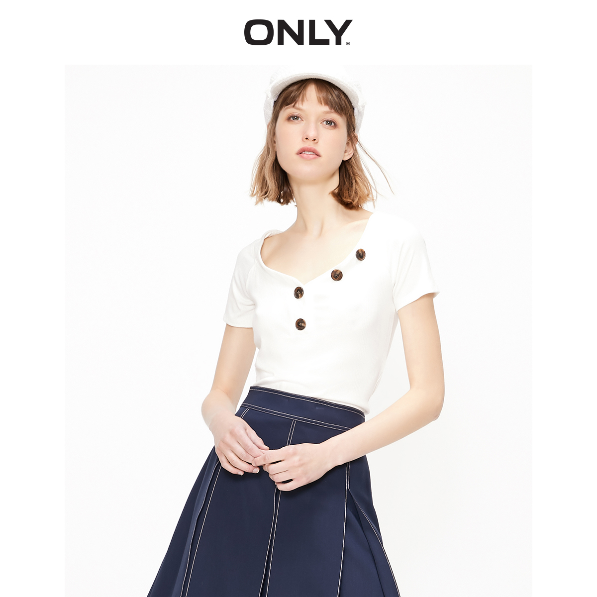 ONLY  Women's Slim Fit Stretch Low-cut V-neckline Short-sleeved Knit T-shirt | 119201587