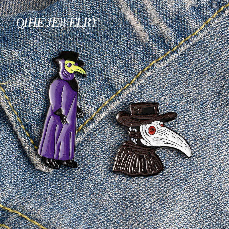 QIHE JEWELRY Plague doctor Enamel Pins Suspense Thriller Movie Brooches Badges Punk Darkness Pin Gifts For Friends Wholesale image