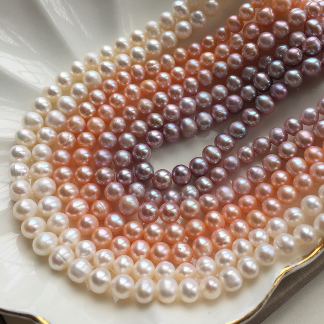 Real!7-8mm Freshwater Pearl Gemstone Round Beads For Jewelry Making