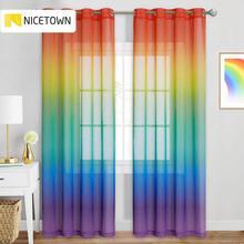 Colorido arco-íris gradiente sheer cortina para sala de estar decoração festa casamento organza estilo country tende gótico casa decoração