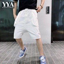 Men Summer Elastic Waist Drawstring Knee Length Pocket Solid Color Drop Crotch Mens Harem Shorts Cotton White Casual Sweatpants