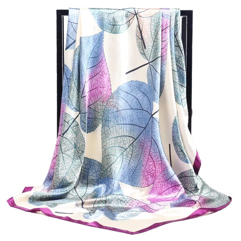 2019 90*90cm Summer Women Silk Foulard Scarves Square Scarf Ladies Luxury Brand Beach Shawl Bandanna Large Hijab Muffler Female