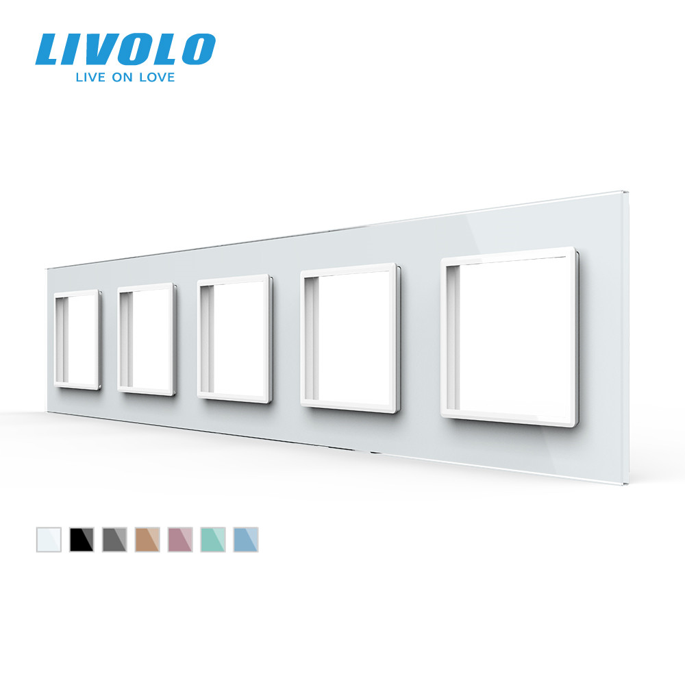 Livolo Luxury 7colors Crystal Glass Switch Panel 364mm 80mm EU standardQuintuple Glass Panel For Wall Socket C7-5SR-11
