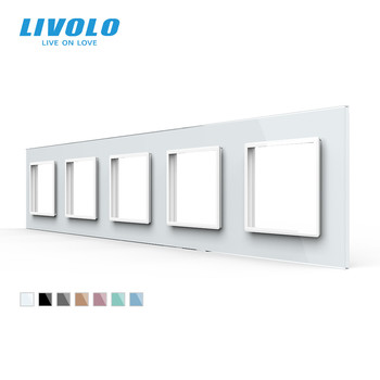 Livolo Luxury 7colors Crystal Glass Switch Panel, 364mm*80mm, EU standard,Quintuple Panel For Wall Socket C7-5SR-11 - discount item  28% OFF Electrical Equipment & Supplies
