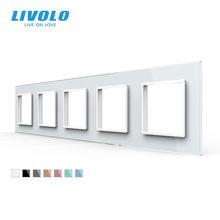Livolo – panneau de luxe avec 5 emplacements en verre cristal, 80x364mm, pour prises murales, 7 couleurs, standard ue
