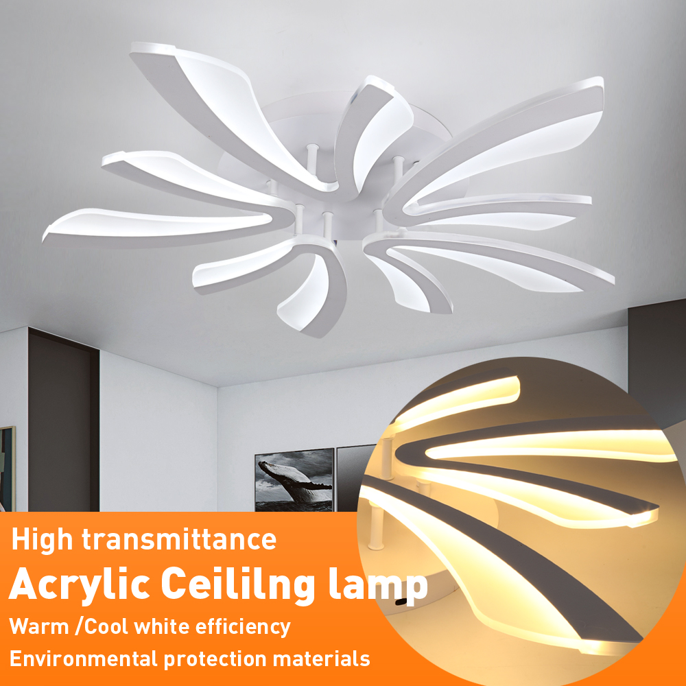 Modern Led Ceiling Lamp Fixtures Acrylic 5Heads Ceiling Chandelier Lamp Lustres Plafonnier For Kitchen Living Room Bedroom Light