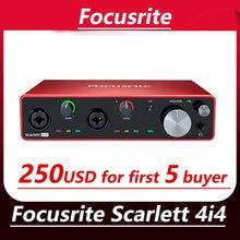 Focusrite scarlett 4i4(3rd gen) 4 entrada 4 saída interface de áudio usb placa de som para microfone guitarra baixo