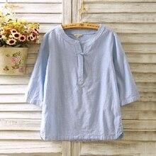 Aransue S XXL נשים של חולצה שלושה שרוול רבעון קיץ חולצות פשתן מגמה לאומית בסוודרים חולצות לנשים אביב בגדים