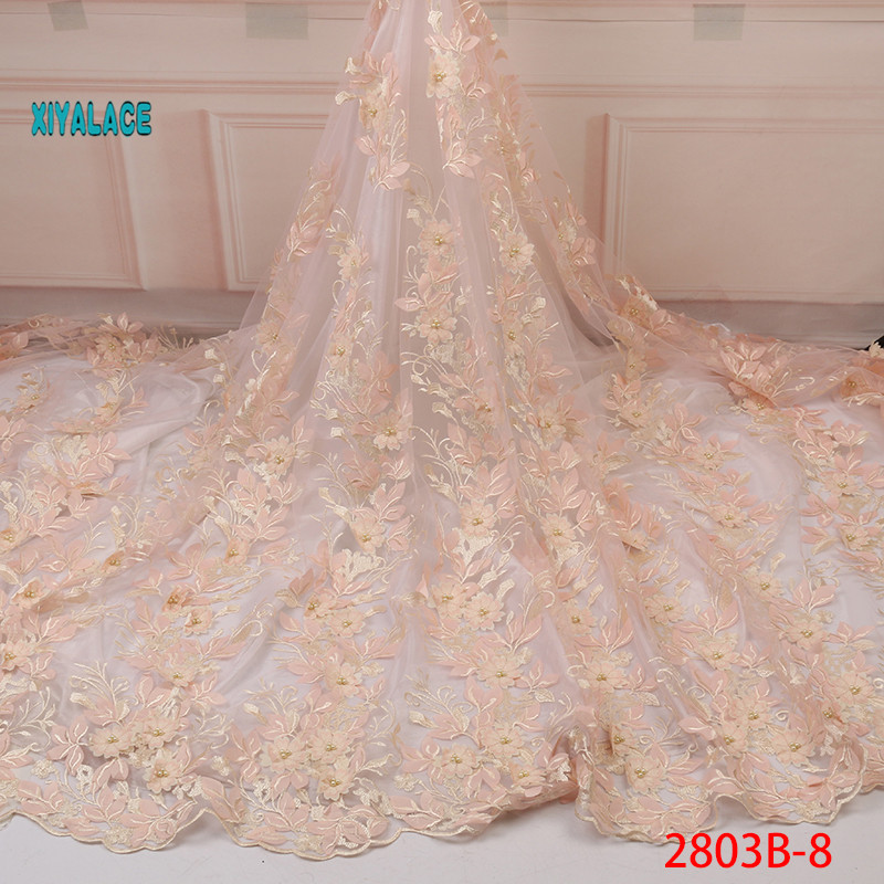 Nigerian Lace Fabrics For Bridal 3D Beads Lace Fabric 2019 High Quality Mesh Embroidery Applique 3D Flower Tulle YA2803B-8