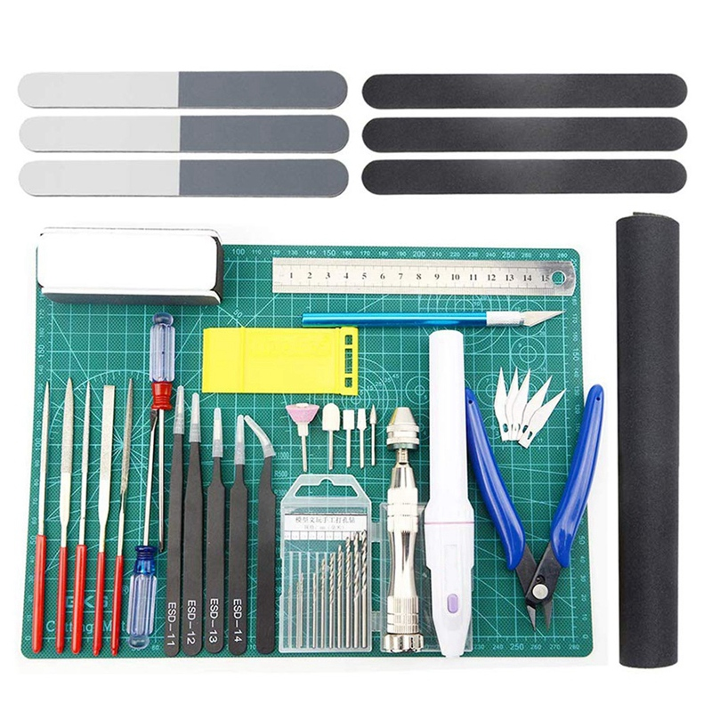 33 PCS Model Tools Kit Modeler Basic Tools Craft Set Hobby Building Tools Kit For Gundam Car Model Building Repairing And Fixing