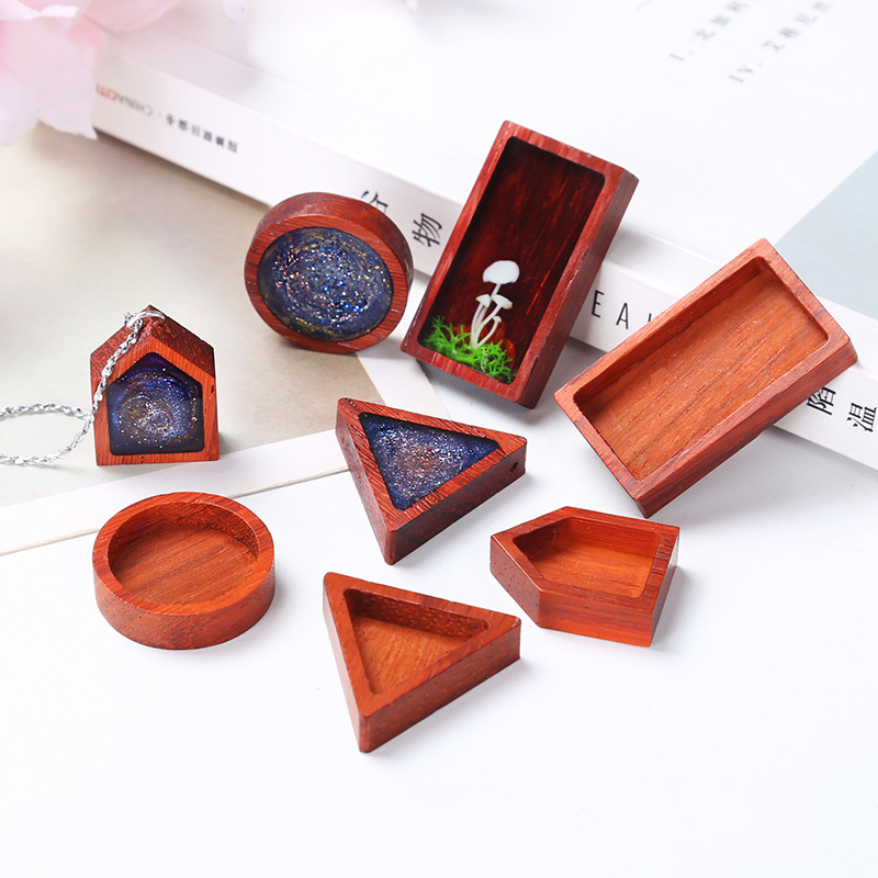 Hand Made DIY Material Crystal Epoxy Resin Mold Rectangular Round Triangle Jewelry Pendant Accessories Red Pear Solid Wood Frame