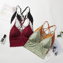 Women Ladies Camisoles Lingerie Lace Sexy Wire Free Casual Wrapped Chest Anti-Light Large Size Underwear Cross Back biustonosz