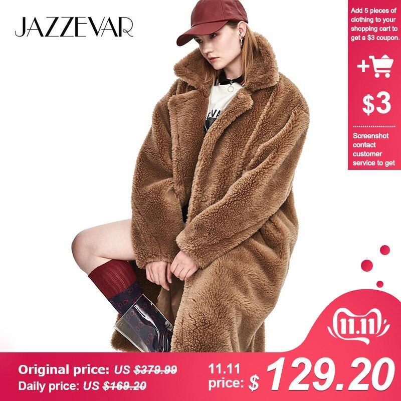 JAZZEVAR 2019 Inverno New Fashion Womens Teddy Bear Ícone de Grandes Dimensões de Pele De Ovelha Casaco Longo X-Real Parka Quente Grosso outerwear J8003