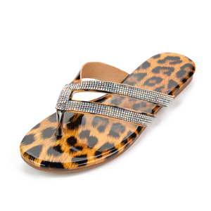 Image 3 - Kcenid 2020 Women slippers leopard flip flops summer women crystal diamond bling slip on beach slides sandals casual shoes new
