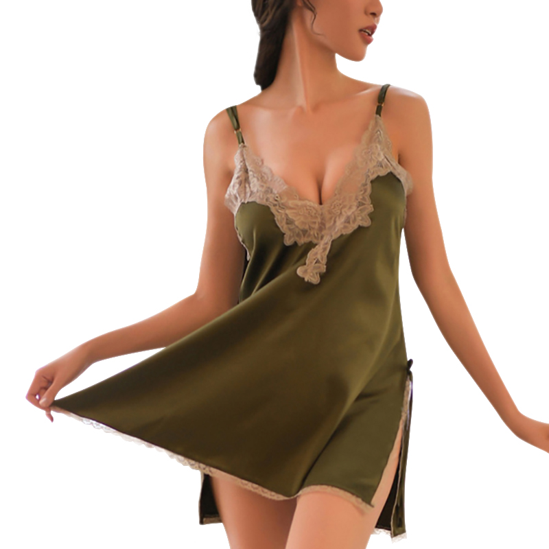 Women Sexy Pajamas Summer Sleeveless Hollow Nightdress Lingerie Ice Silk Home Clothing 4 Colors