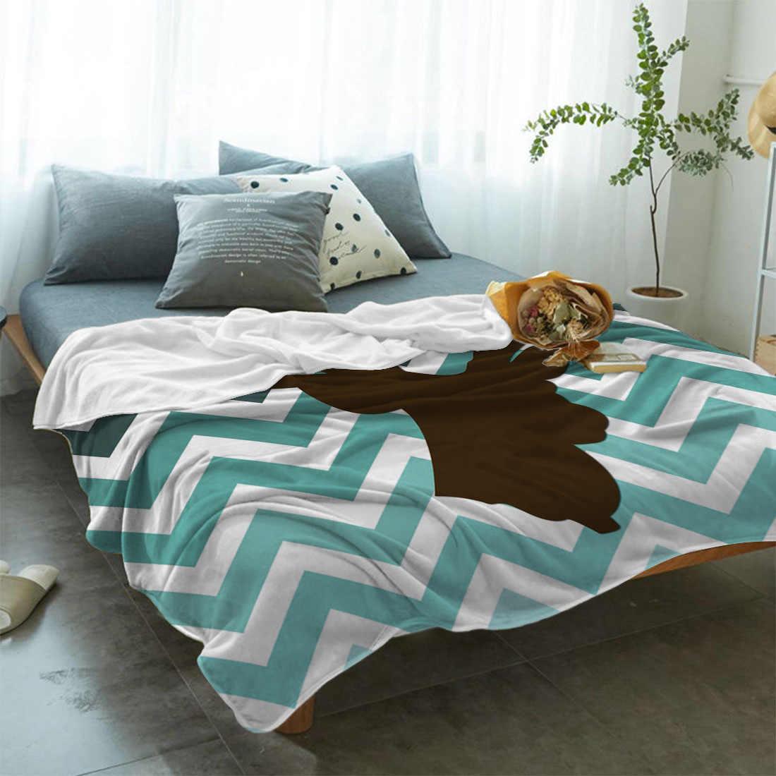 Elk Garis-garis Gradien Latar Belakang Putih Seprai Bed Cover Selimut Selimut Bulu Penutup Tahan Kerut Dekoratif Microdeep