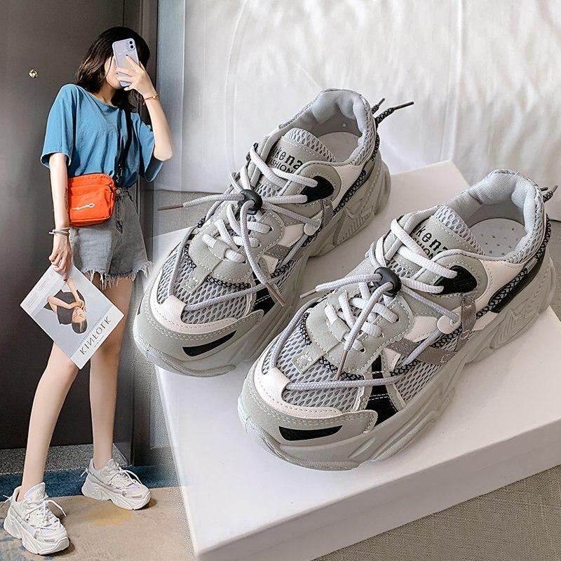 Купить женские кроссовки на платформе весенне зимние повседневные дышащие