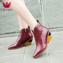 Ankle Boots for Women 2019 Autumn Winter Western Cowboy Boots Women Slip on Wedge High Heel Boots Brown Black Suede Shoes Botas fashion shoes women boots high heel zip ankle boots for women winter shoes suede boots black women ladies shoes botas