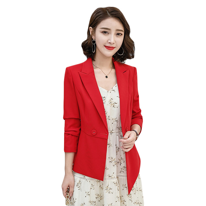 Office Red Small Suit Jacket Female New Temperament Korean Slim Slim Long-sleeved Blazer 2019 Women's Suit Business Jacket