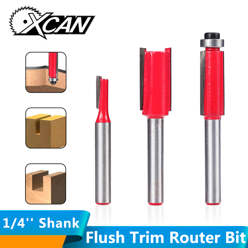 XCAN 1/4'' Shank Wood Router Bits Straight Fluted Template Pattern Bit Bearing Guided Flush Trim Wood Milling Cutter