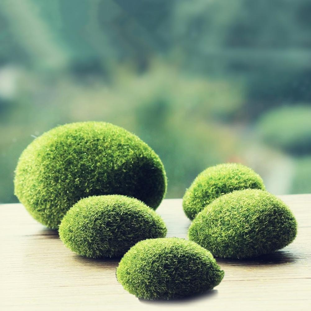 6pcs Artificial Moss Rocks Decorative Faux Green Moss Covered