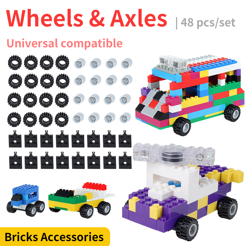 48 Pcs Classic Car Wheels Axles Building Blocks Complement Set Bricks Accessories Educational Toys Compatible With LegoED Blocks