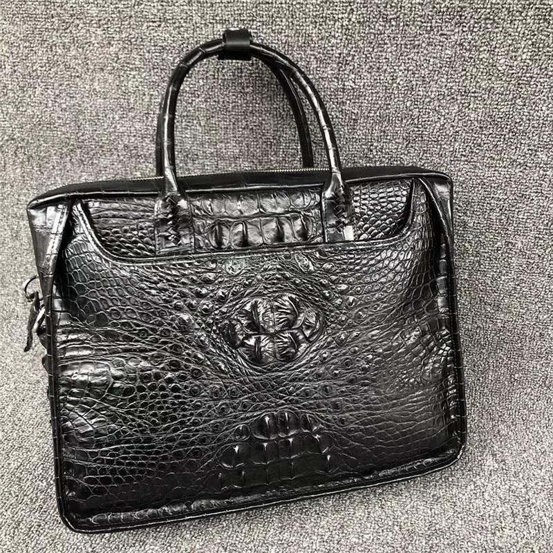 Authentique peau de Crocodile hommes grande sacoche pour ordinateur portable véritable Alligator cuir fermeture à glissière mâle sac à main unique sac à bandoulière
