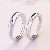 UFOORO Fashion New 925 Sterling Silver Jewelry Love Sinus Open Men And Women Couples Ring Diamonds Simple Live Personality Ring